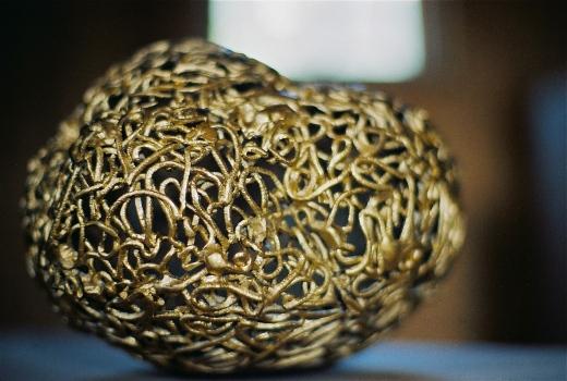 Steinzeug mit Goldspray 30cm